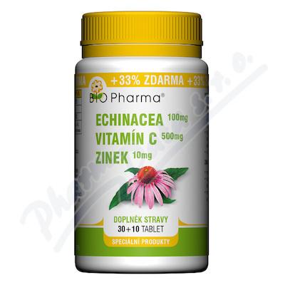 Echinacea 100mg+VitamínC 500mg+Zinek10mg tbl.30+10