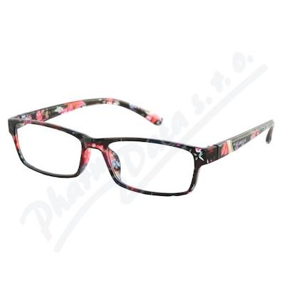 Brýle čtecí +2. 00 černo-květinové