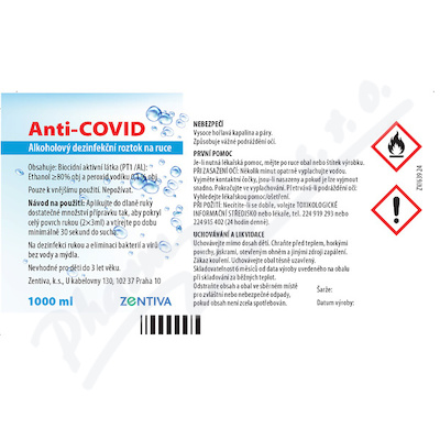 Anti-COVID Alkoholový dezinf. roztok na ruce 1000ml