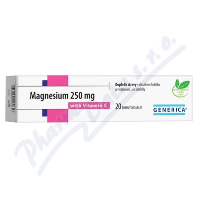 Magnesium 250mg tbl. eff 20 s vitam. C Generica